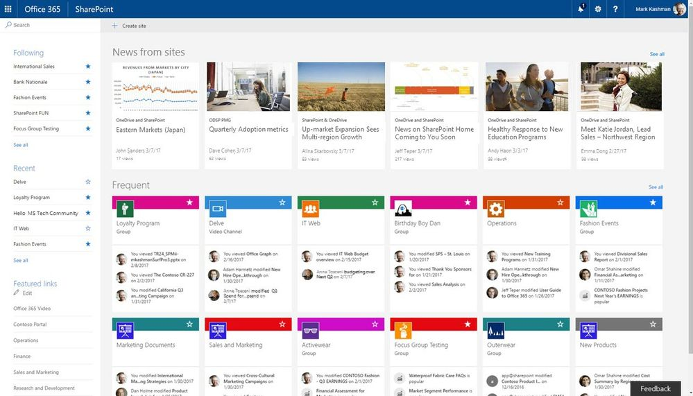 Announcement sharepoint home in office 365 and team news for Best online sale sites